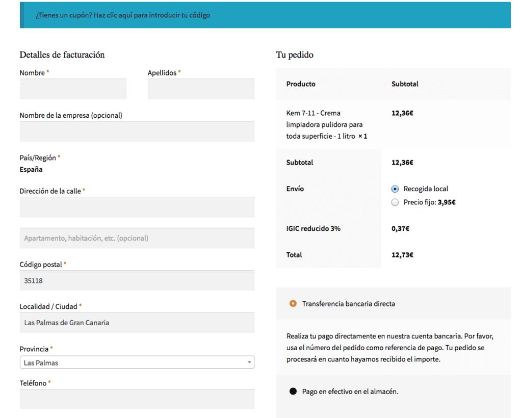 detalles de facturación en Kem Canarias